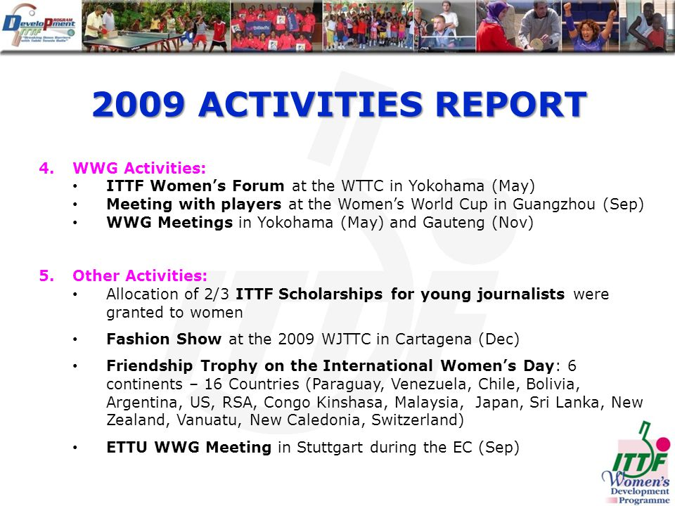 2009 ACTIVITIES REPORT 4.WWG Activities: ITTF Womens Forum at the WTTC in Yokohama (May) Meeting with players at the Womens World Cup in Guangzhou (Sep) WWG Meetings in Yokohama (May) and Gauteng (Nov) 5.Other Activities: Allocation of 2/3 ITTF Scholarships for young journalists were granted to women Fashion Show at the 2009 WJTTC in Cartagena (Dec) Friendship Trophy on the International Womens Day: 6 continents – 16 Countries (Paraguay, Venezuela, Chile, Bolivia, Argentina, US, RSA, Congo Kinshasa, Malaysia, Japan, Sri Lanka, New Zealand, Vanuatu, New Caledonia, Switzerland) ETTU WWG Meeting in Stuttgart during the EC (Sep)