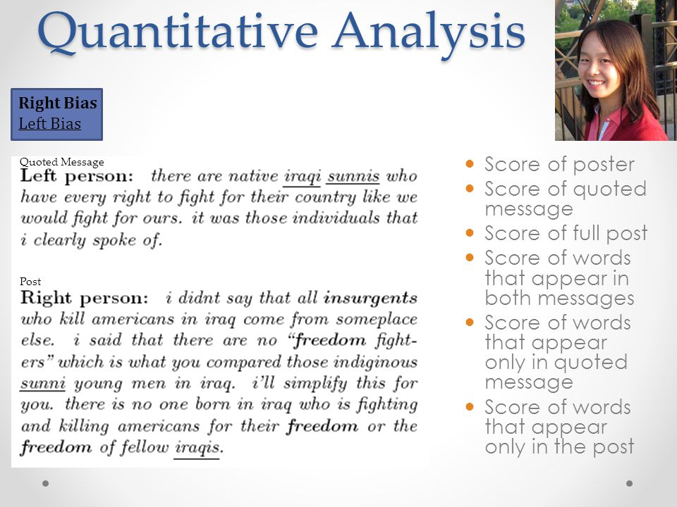 Quantitative Analysis Right Bias Left Bias Score of poster Score of quoted message Score of full post Score of words that appear in both messages Score of words that appear only in quoted message Score of words that appear only in the post Quoted Message Post