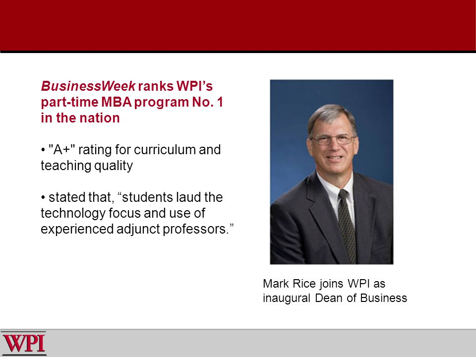 BusinessWeek ranks WPIs part-time MBA program No.