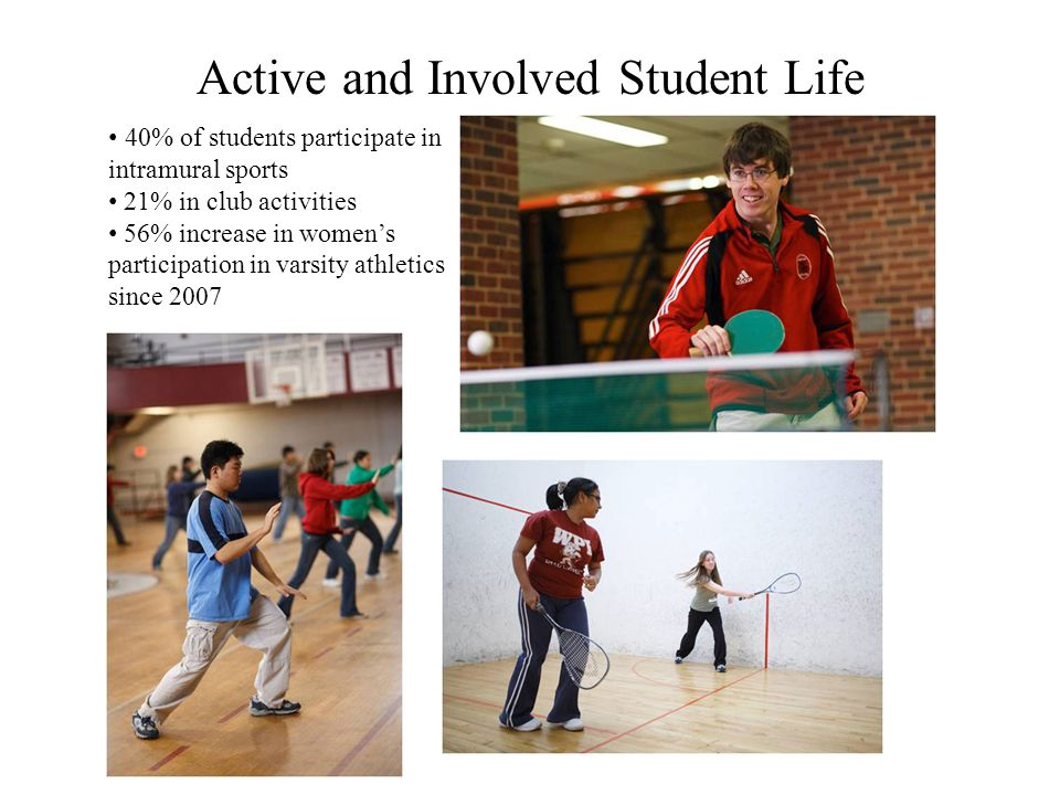 Active and Involved Student Life 40% of students participate in intramural sports 21% in club activities 56% increase in womens participation in varsity athletics since 2007