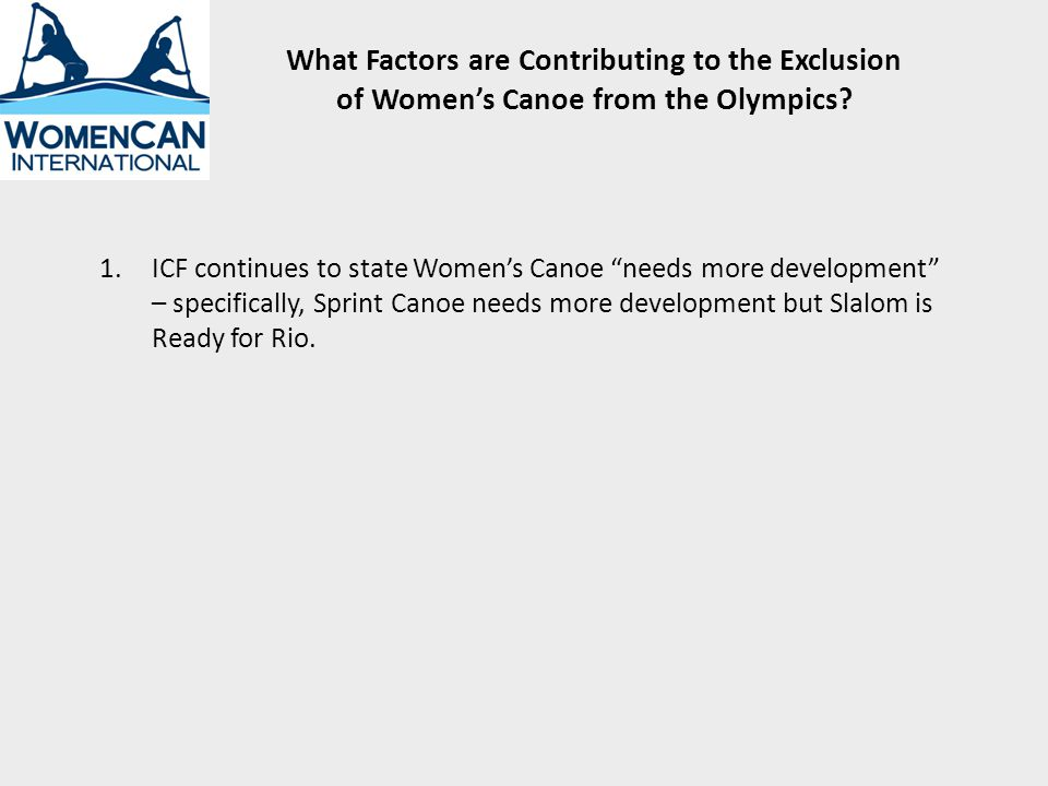 What Factors are Contributing to the Exclusion of Womens Canoe from the Olympics.