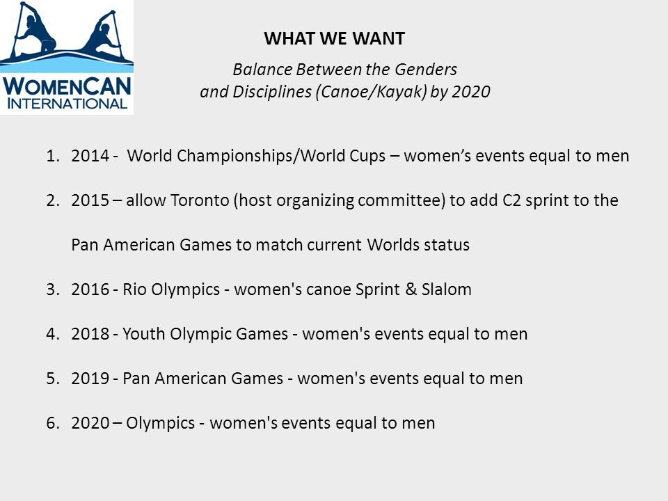 WHAT WE WANT 1.2014 - World Championships/World Cups – womens events equal to men 2.2015 – allow Toronto (host organizing committee) to add C2 sprint to the Pan American Games to match current Worlds status 3.2016 - Rio Olympics - women s canoe Sprint & Slalom 4.2018 - Youth Olympic Games - women s events equal to men 5.2019 - Pan American Games - women s events equal to men 6.2020 – Olympics - women s events equal to men Balance Between the Genders and Disciplines (Canoe/Kayak) by 2020