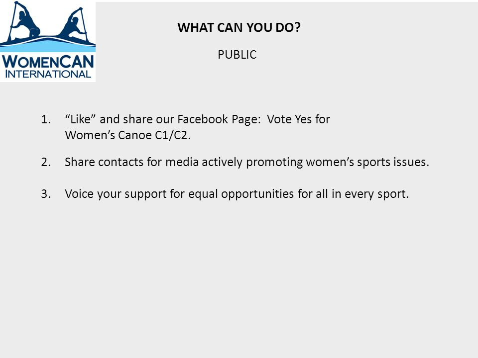 WHAT CAN YOU DO. 2.Share contacts for media actively promoting womens sports issues.