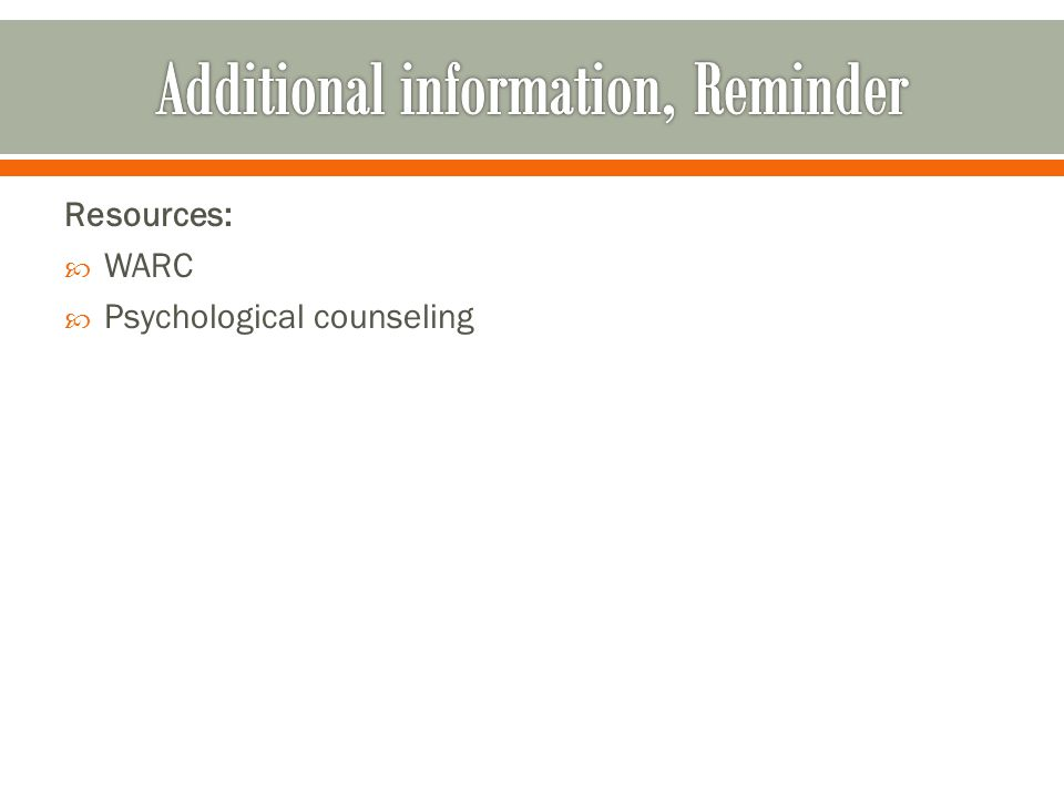 Resources: WARC Psychological counseling