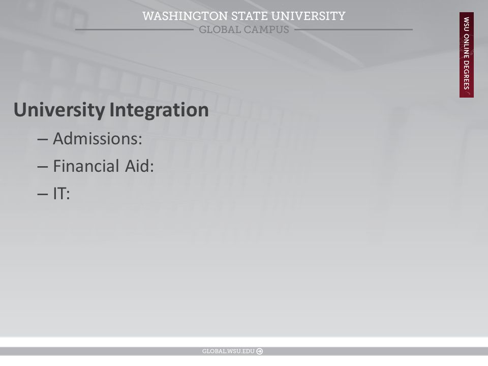 University Integration – Admissions: – Financial Aid: – IT: