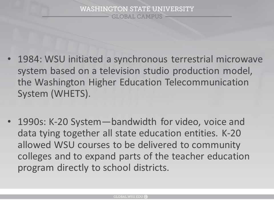 1992: the institution launched a distance degree program, using videotapes produced in the universitys public television studios.