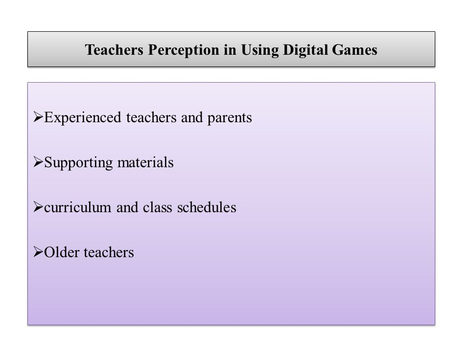 Teachers Perception in Using Digital Games Experienced teachers and parents Supporting materials curriculum and class schedules Older teachers Experienced teachers and parents Supporting materials curriculum and class schedules Older teachers