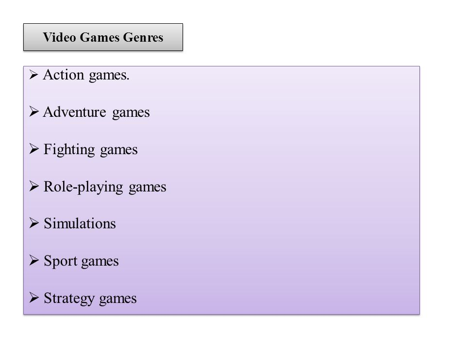 Video Games Genres Action games.