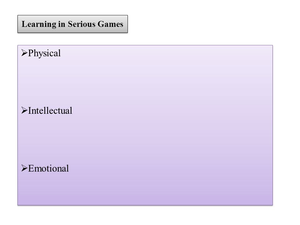 Learning in Serious Games Physical Intellectual Emotional Physical Intellectual Emotional