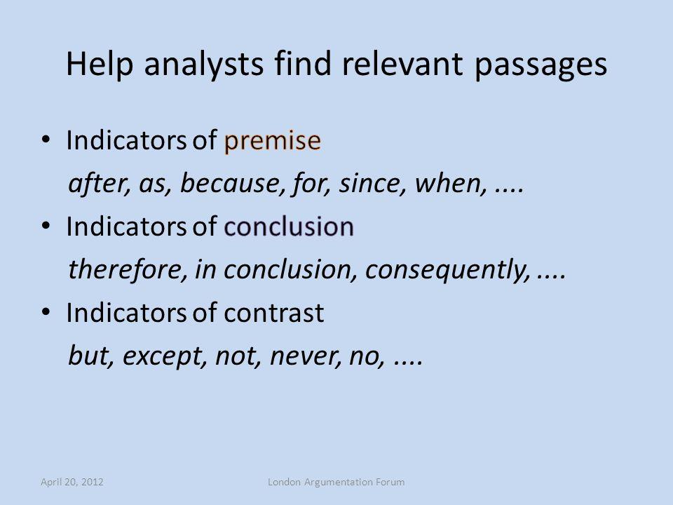 Help analysts find relevant passages April 20, 2012London Argumentation Forum