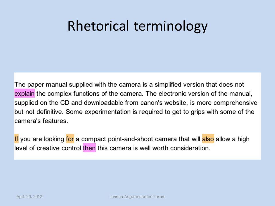 Rhetorical terminology April 20, 2012London Argumentation Forum