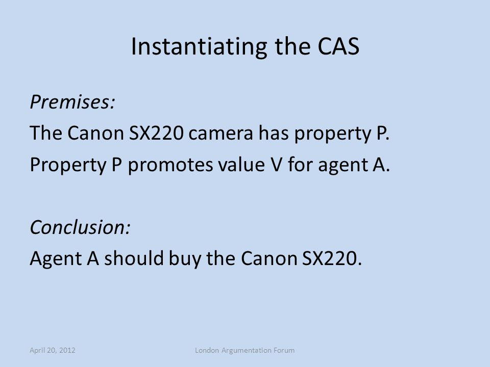 Instantiating the CAS Premises: The Canon SX220 camera has property P. Property P promotes value V for agent A. Conclusion: Agent A should buy the Can