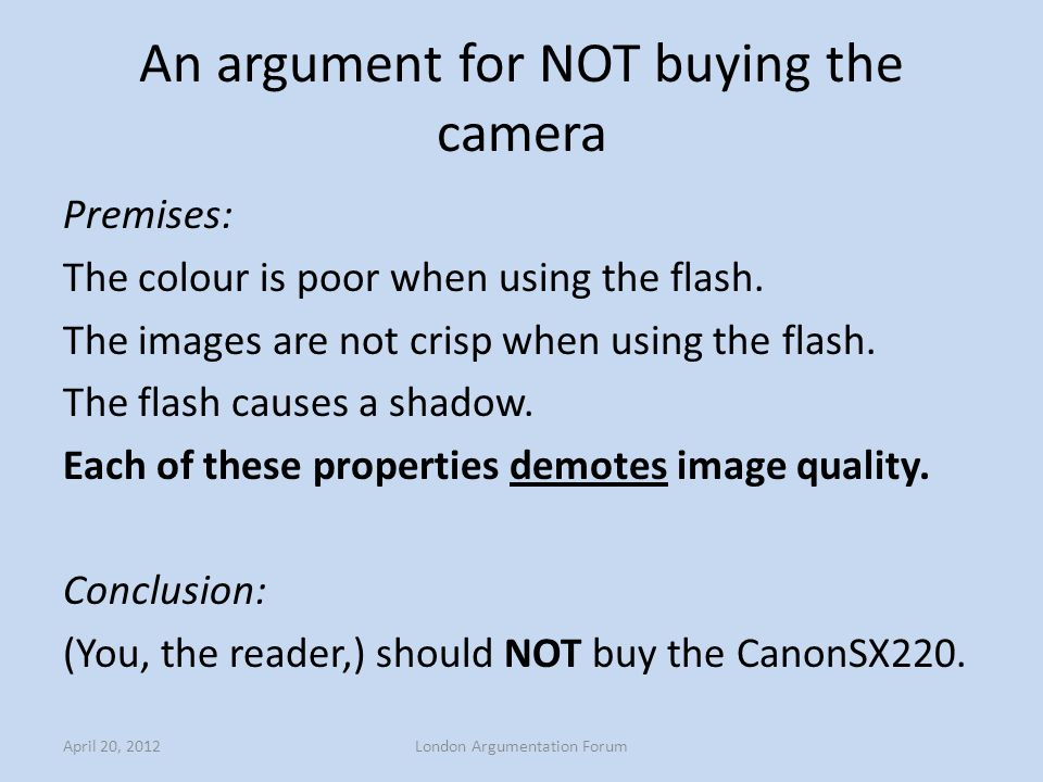 An argument for NOT buying the camera Premises: The colour is poor when using the flash. The images are not crisp when using the flash. The flash caus