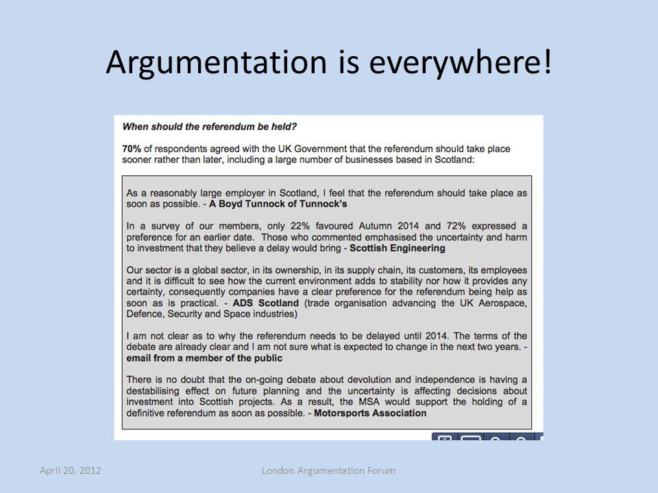 Argumentation is everywhere! April 20, 2012London Argumentation Forum