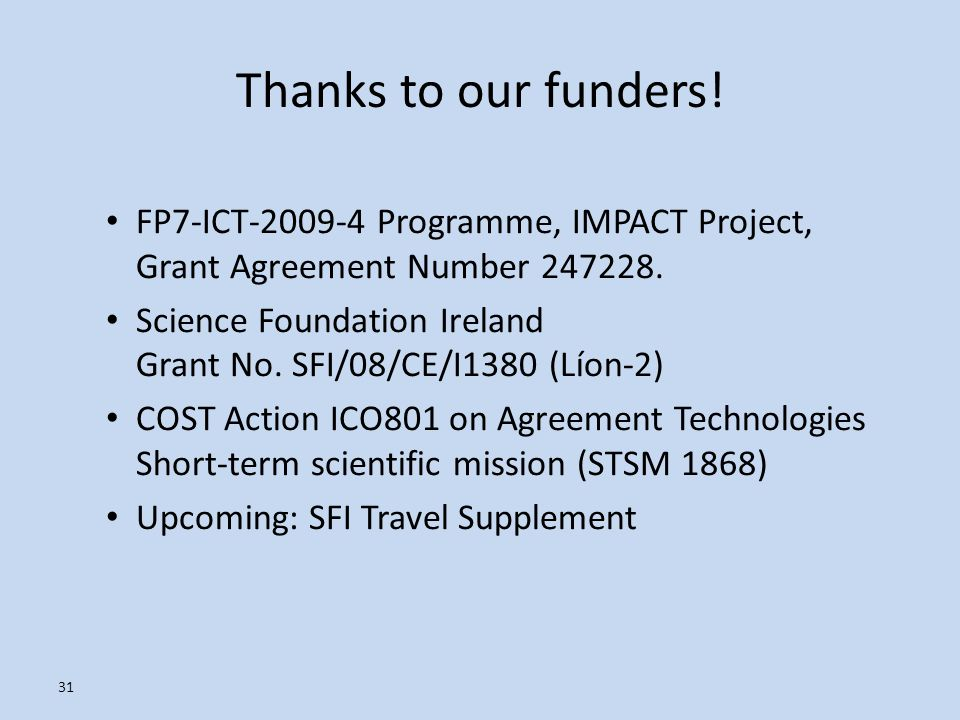 Thanks to our funders! FP7-ICT-2009-4 Programme, IMPACT Project, Grant Agreement Number 247228. Science Foundation Ireland Grant No. SFI/08/CE/I1380 (