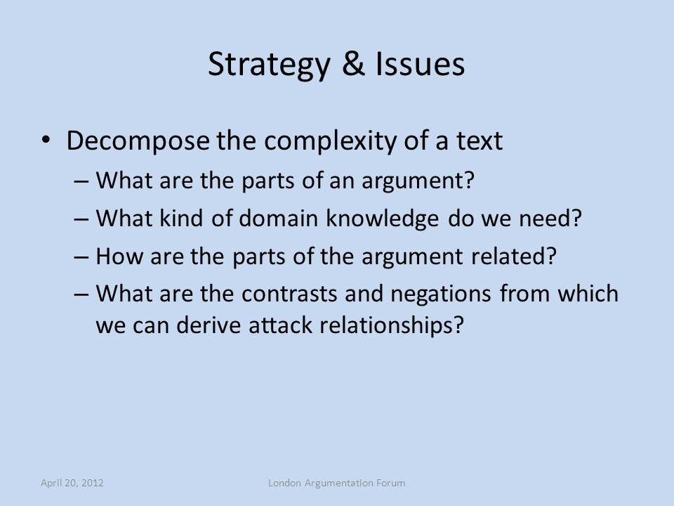 Strategy & Issues Decompose the complexity of a text – What are the parts of an argument? – What kind of domain knowledge do we need? – How are the pa