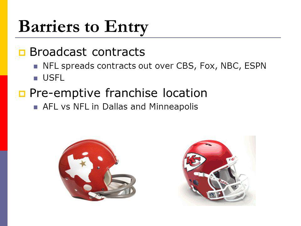 Barriers to Entry Broadcast contracts NFL spreads contracts out over CBS, Fox, NBC, ESPN USFL Pre-emptive franchise location AFL vs NFL in Dallas and Minneapolis