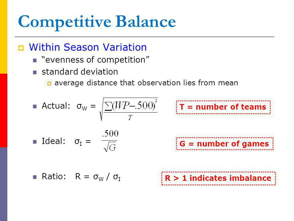 Competitive Balance Within Season Variation evenness of competition standard deviation average distance that observation lies from mean Actual: σ W = Ideal: σ I = Ratio: R = σ W / σ I R > 1 indicates imbalance T = number of teams G = number of games