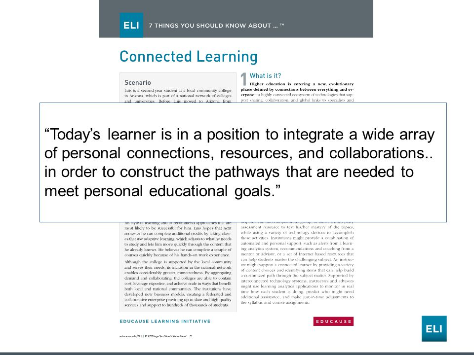 Todays learner is in a position to integrate a wide array of personal connections, resources, and collaborations..