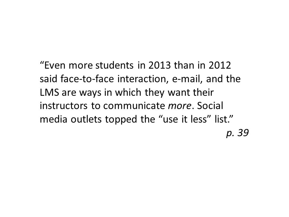 Even more students in 2013 than in 2012 said face-to-face interaction, e-mail, and the LMS are ways in which they want their instructors to communicate more.