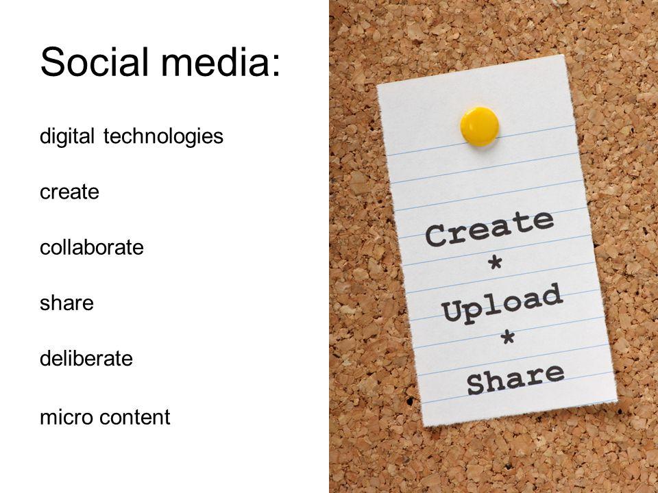 Social media: digital technologies create collaborate share deliberate micro content