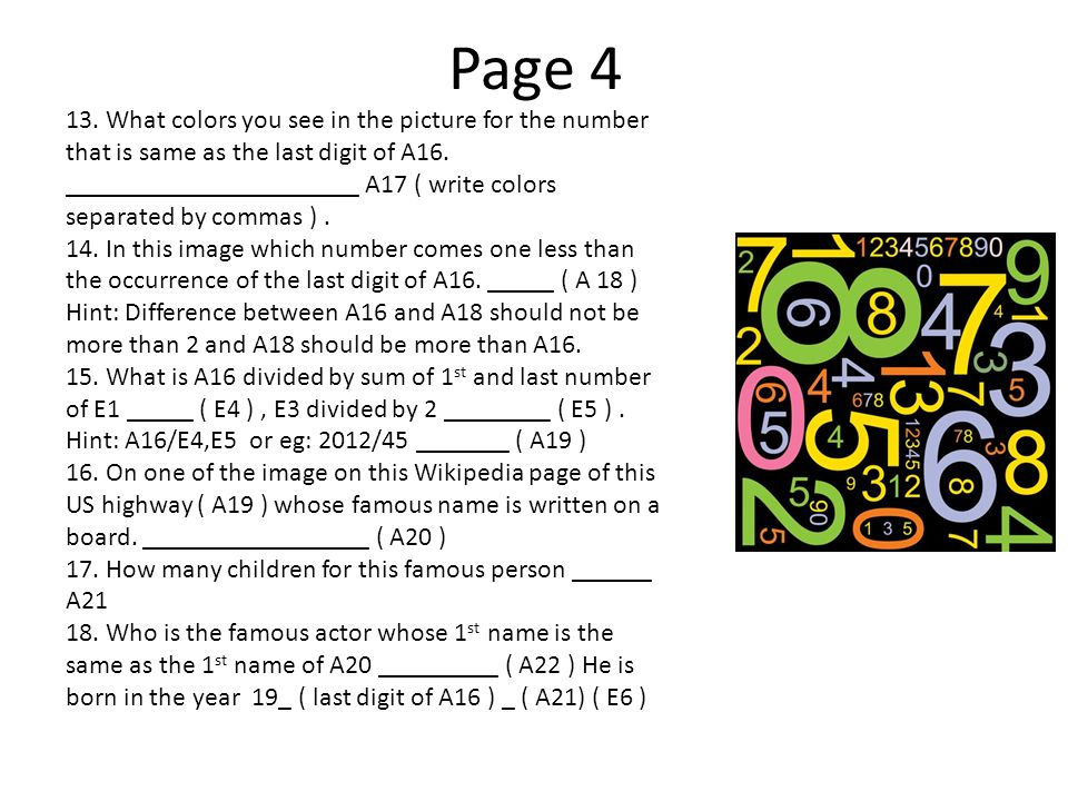 Page 4 13. What colors you see in the picture for the number that is same as the last digit of A16.
