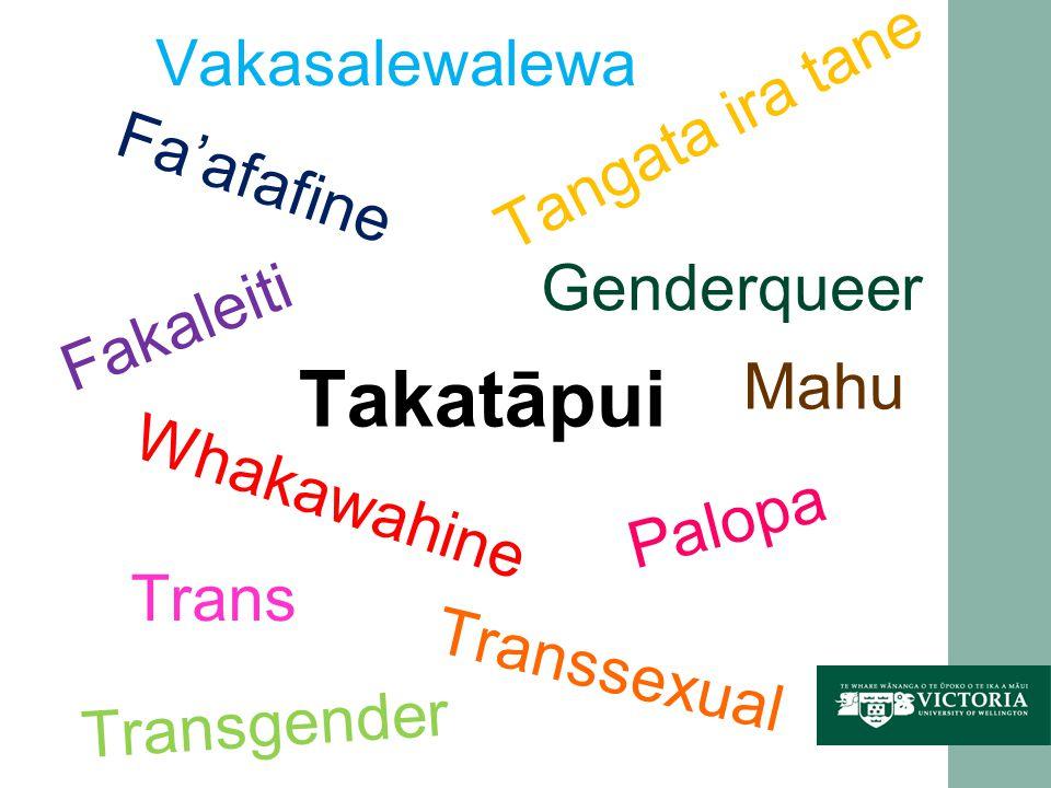 Trans Transsexual Transgender Whakawahine Genderqueer Tangata ira tane Faafafine Fakaleiti Vakasalewalewa Mahu Palopa Takatāpui