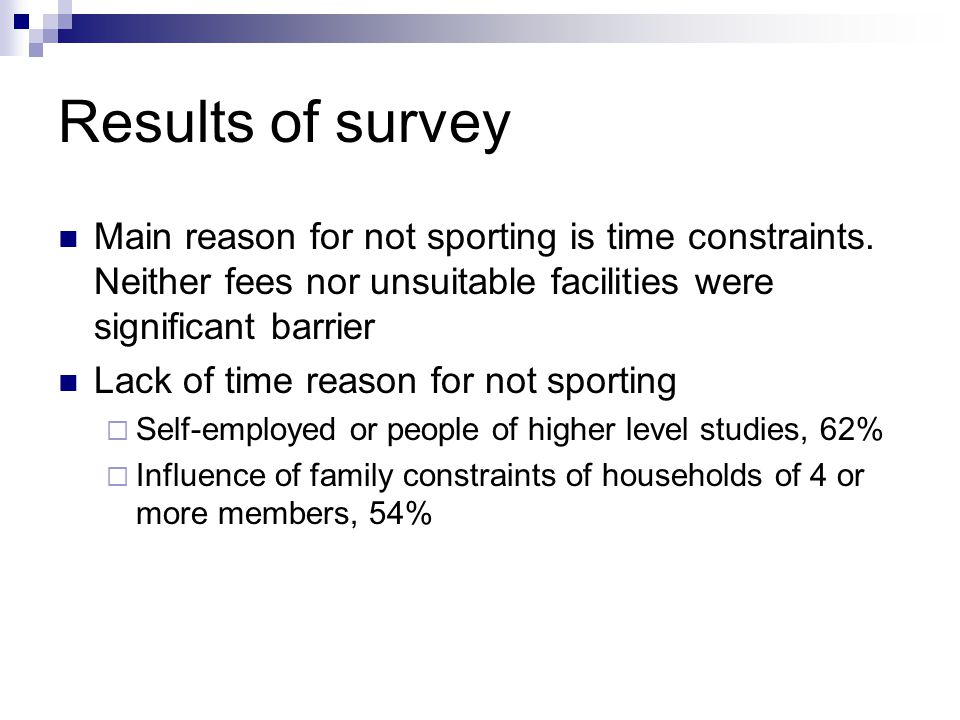 Results of survey Main reason for not sporting is time constraints.