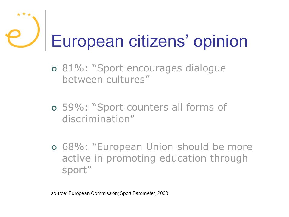 European citizens opinion 81%: Sport encourages dialogue between cultures 59%: Sport counters all forms of discrimination 68%: European Union should be more active in promoting education through sport source: European Commission; Sport Barometer, 2003