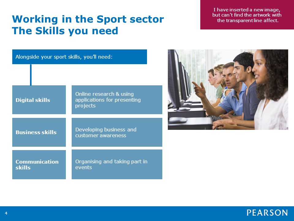 Working in the Sport sector The Skills you need 4 Alongside your sport skills, youll need: Online research & using applications for presenting projects Developing business and customer awareness Organising and taking part in events Digital skills Business skills Communication skills I have inserted a new image, but cant find the artwork with the transparent line affect.