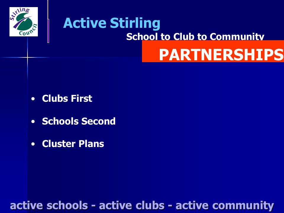 active schools - active clubs - active community Active Stirling active schools - active clubs - active community Clubs First Schools Second Cluster P