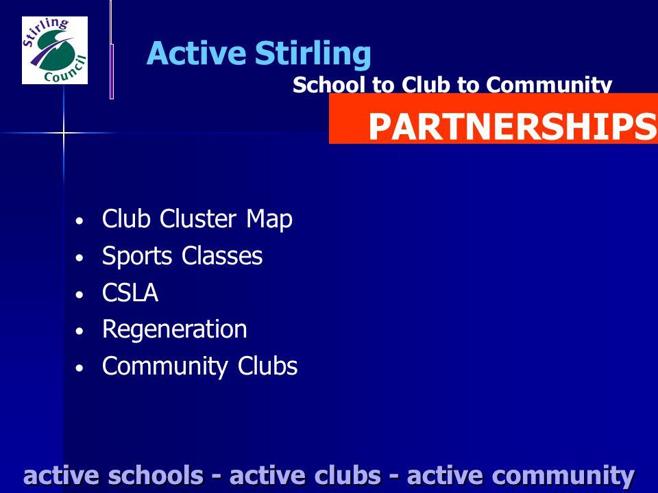 active schools - active clubs - active community Active Stirling active schools - active clubs - active community School to Club to Community Club Clu