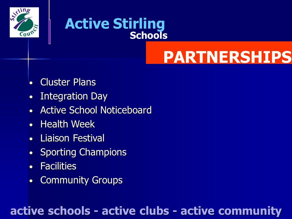 Schools Active Stirling PARTNERSHIPS active schools - active clubs - active community Cluster Plans Cluster Plans Integration Day Integration Day Acti