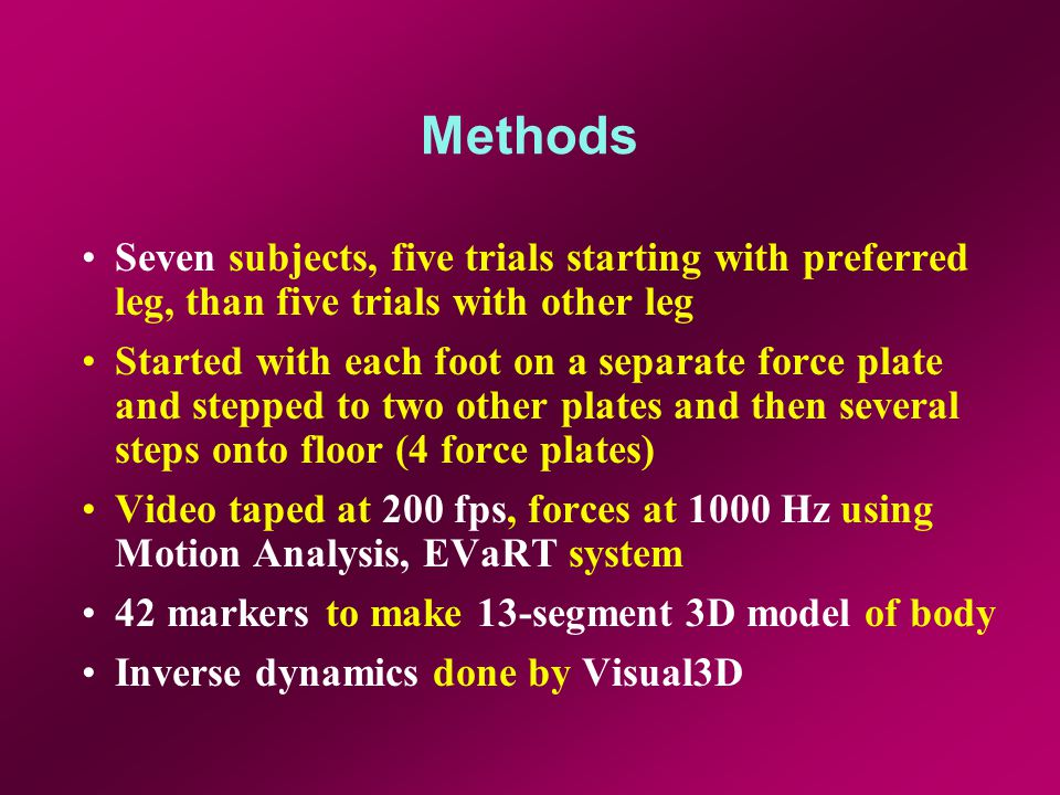 Methods Seven subjects, five trials starting with preferred leg, than five trials with other leg Started with each foot on a separate force plate and stepped to two other plates and then several steps onto floor (4 force plates) Video taped at 200 fps, forces at 1000 Hz using Motion Analysis, EVaRT system 42 markers to make 13-segment 3D model of body Inverse dynamics done by Visual3D