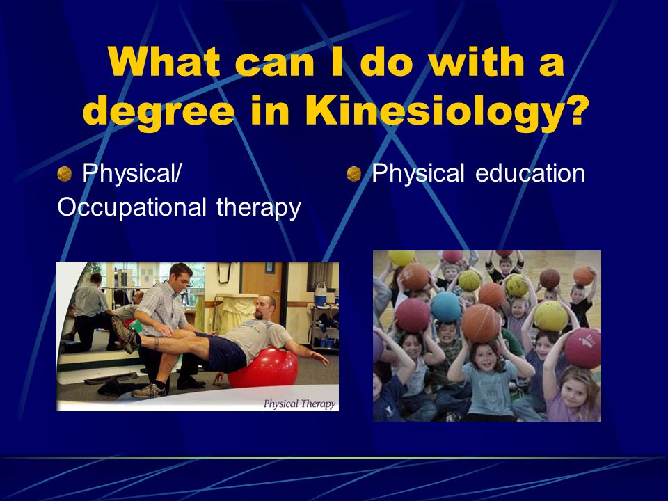 What can I do with a degree in Kinesiology Physical/ Occupational therapy Physical education