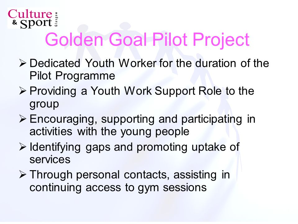 Golden Goal Pilot Project Dedicated Youth Worker for the duration of the Pilot Programme Providing a Youth Work Support Role to the group Encouraging, supporting and participating in activities with the young people Identifying gaps and promoting uptake of services Through personal contacts, assisting in continuing access to gym sessions