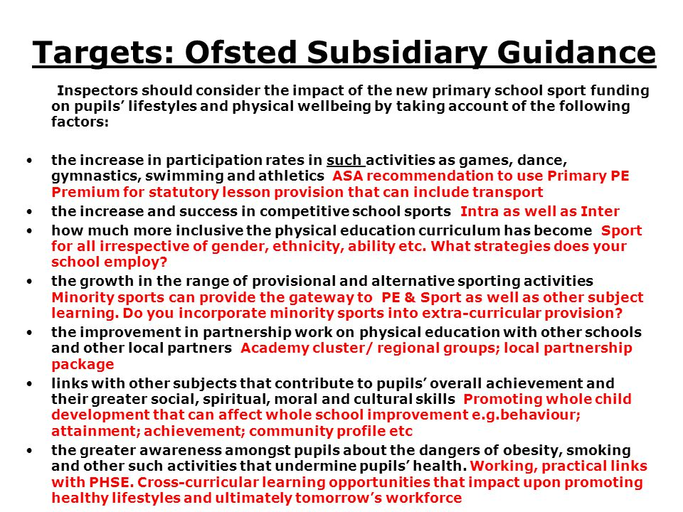 Targets: Ofsted Subsidiary Guidance Inspectors should consider the impact of the new primary school sport funding on pupils lifestyles and physical we