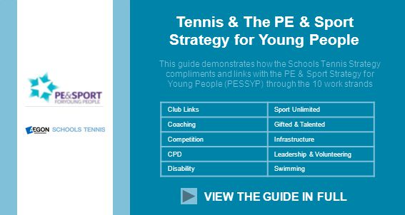 Tennis & The PE & Sport Strategy for Young People This guide demonstrates how the Schools Tennis Strategy compliments and links with the PE & Sport Strategy for Young People (PESSYP) through the 10 work strands VIEW THE GUIDE IN FULL Club LinksSport Unlimited CoachingGifted & Talented CompetitionInfrastructure CPDLeadership & Volunteering DisabilitySwimming
