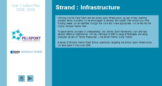 Strand : Infrastructure Year 1 Action Plan 2008 / 2009 Working with the Field Team and the school sport infrastructure, as part of their planning process, tennis providers will be encouraged to develop and sustain their school-club links.