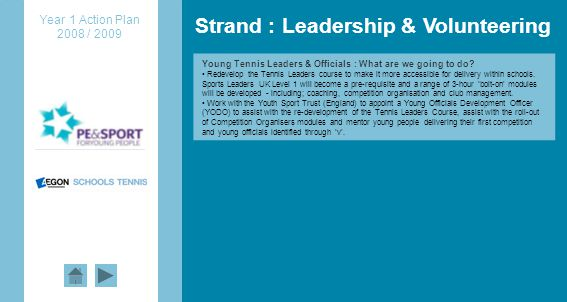 Strand : Leadership & Volunteering Young Tennis Leaders & Officials : What are we going to do.