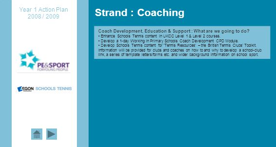 Strand : Coaching Coach Development, Education & Support : What are we going to do.