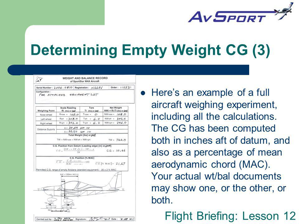 Flight Briefing: Lesson 12 Determining Empty Weight CG (3) Heres an example of a full aircraft weighing experiment, including all the calculations. Th
