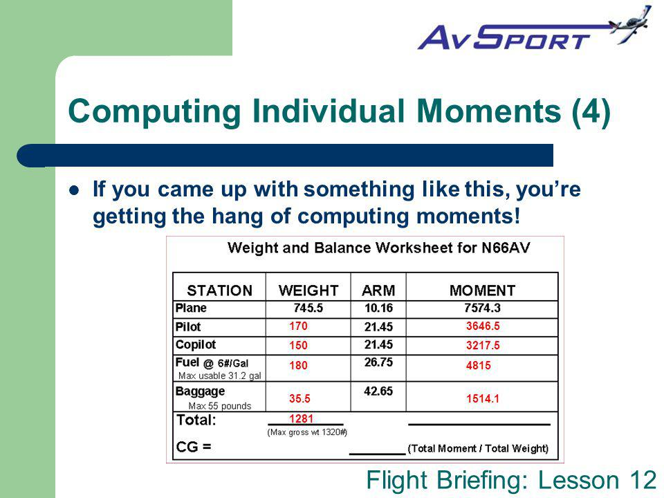 Flight Briefing: Lesson 12 Computing Individual Moments (4) If you came up with something like this, youre getting the hang of computing moments! 170