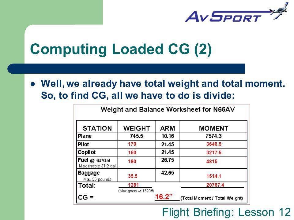 Flight Briefing: Lesson 12 Computing Loaded CG (2) Well, we already have total weight and total moment. So, to find CG, all we have to do is divide: 1