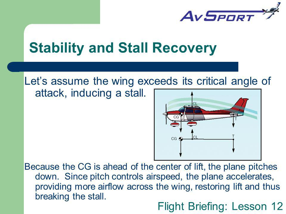 Flight Briefing: Lesson 12 Stability and Stall Recovery Lets assume the wing exceeds its critical angle of attack, inducing a stall. Because the CG is