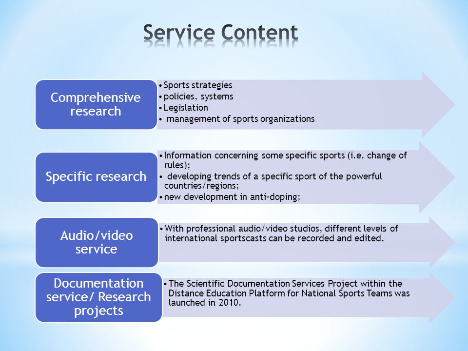 Sports strategies policies, systems Legislation management of sports organizations Comprehensive research Information concerning some specific sports (i.e.