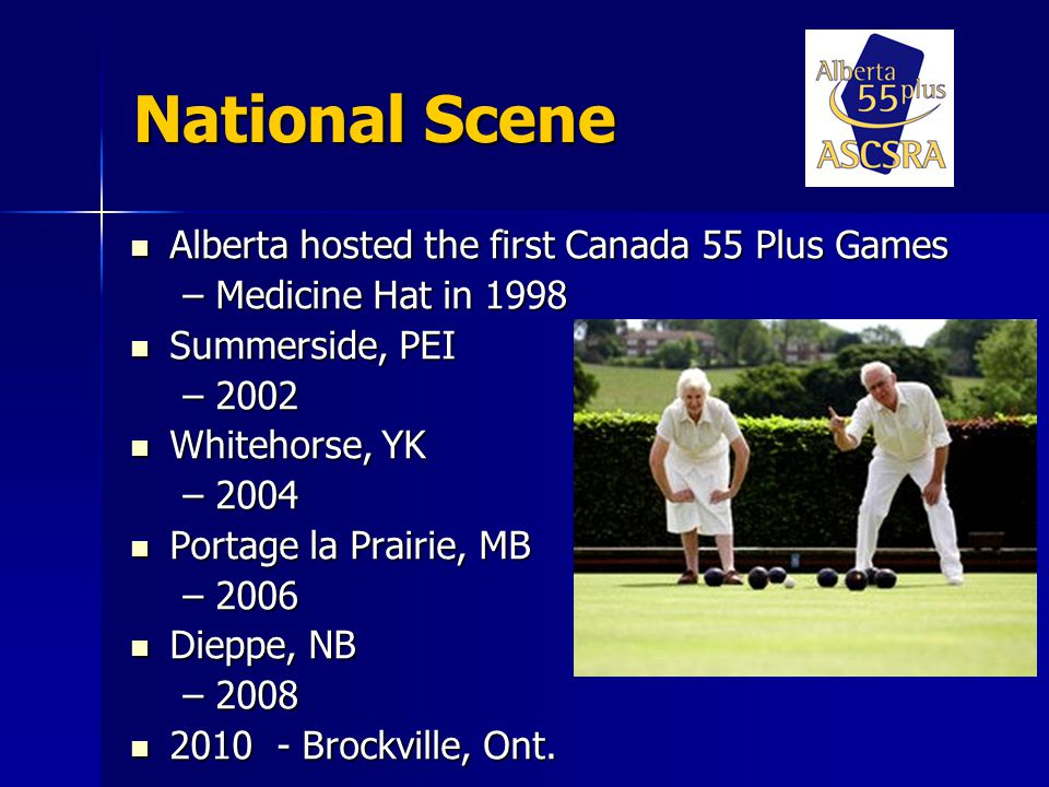 National Scene Alberta hosted the first Canada 55 Plus Games Alberta hosted the first Canada 55 Plus Games –Medicine Hat in 1998 Summerside, PEI Summerside, PEI –2002 Whitehorse, YK Whitehorse, YK –2004 Portage la Prairie, MB Portage la Prairie, MB –2006 Dieppe, NB Dieppe, NB – Brockville, Ont.