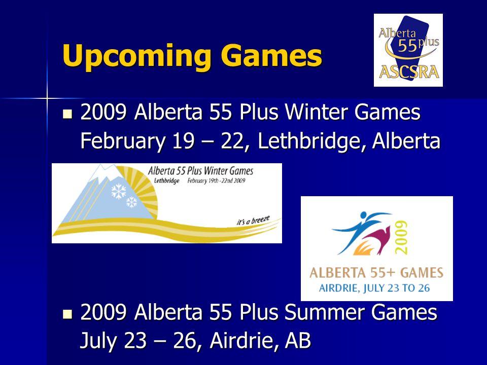National Scene Alberta hosted the first Canada 55 Plus Games Alberta hosted the first Canada 55 Plus Games –Medicine Hat in 1998 Summerside, PEI Summerside, PEI –2002 Whitehorse, YK Whitehorse, YK –2004 Portage la Prairie, MB Portage la Prairie, MB –2006 Dieppe, NB Dieppe, NB –2008 2010 - Brockville, Ont.
