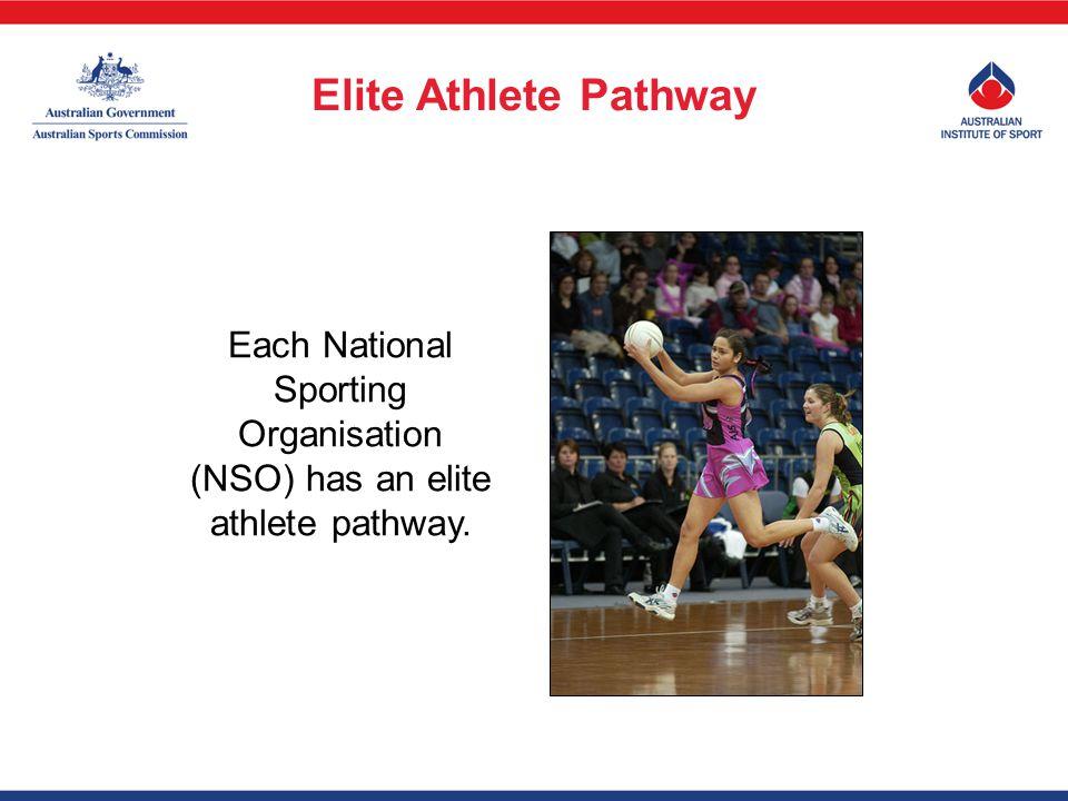 Each National Sporting Organisation (NSO) has an elite athlete pathway. Elite Athlete Pathway