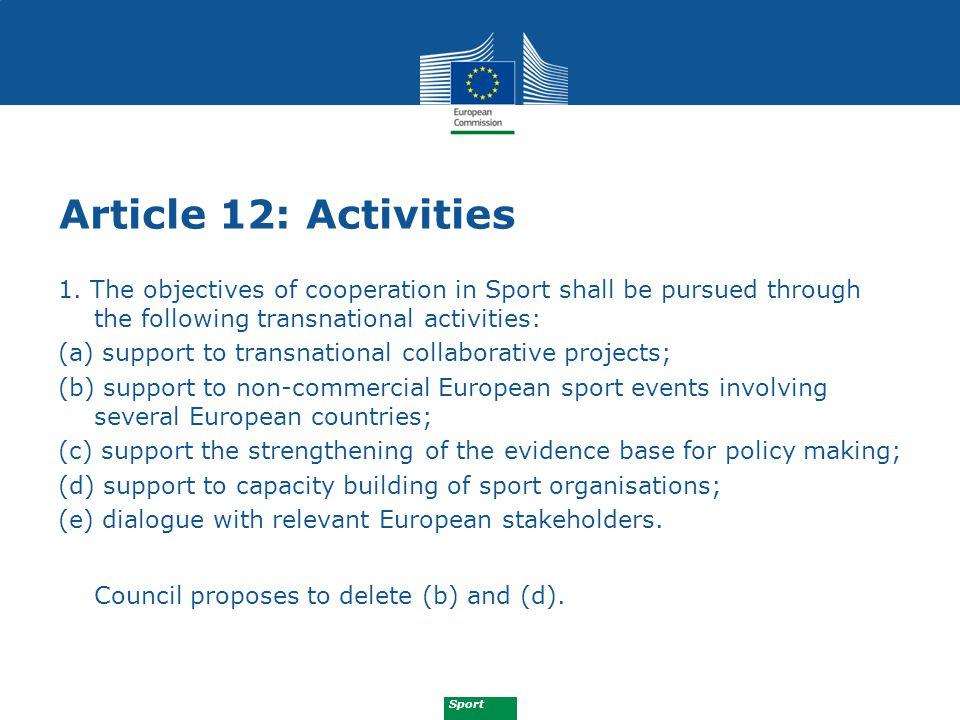 Sport Article 12: Activities 1.